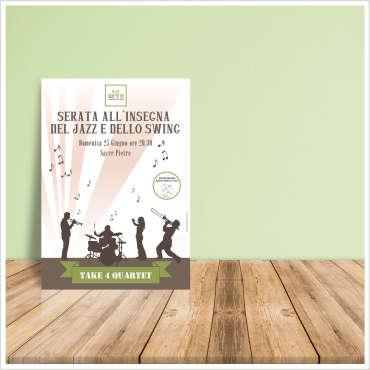 Manifesto pubblicitario Serata Jazz e Swing – Sacre Pietre