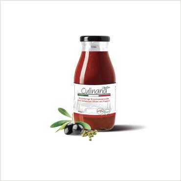Salemi Pina per Culinaria Italia – Sugo pronto di pomodorino ciliegino con Olive Nere e Capperi