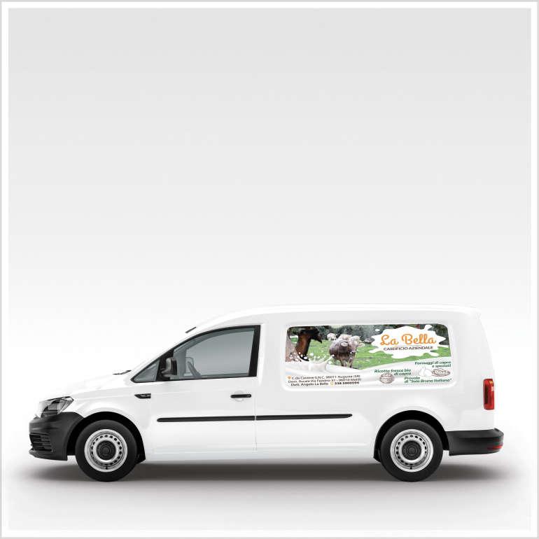 Adesivo pubblicitario Caseificio La Bella-Stampa su vinile